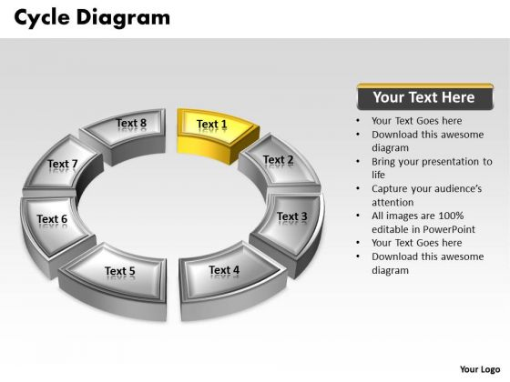 Ppt Yellow Animated Text Cycle Network Diagram Powerpoint Template