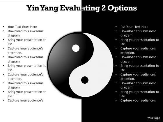 Ppt Yin Yang Evaluating 2 Options PowerPoint Templates