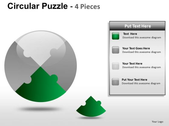 Presentation Circular Puzzle 4 Pieces PowerPoint Slides And Ppt Diagram Templates