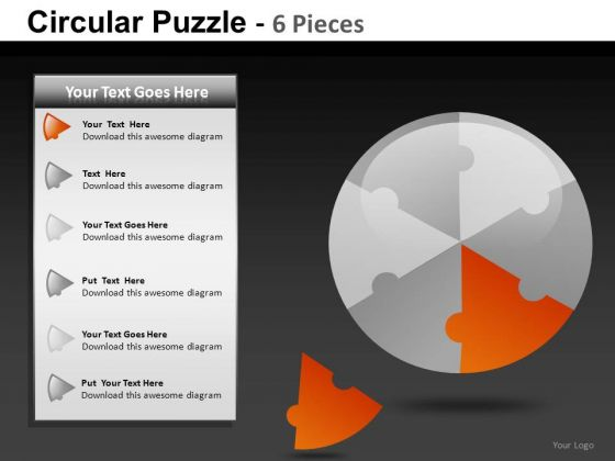 Presentation Circular Puzzle 6 Pieces PowerPoint Slides And Ppt Diagram Templates