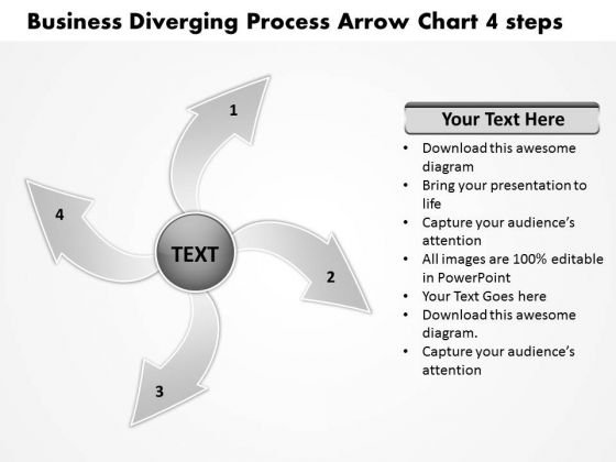 Presentation Diverging Process Arrow Chart 4 Steps Cycle PowerPoint Slides