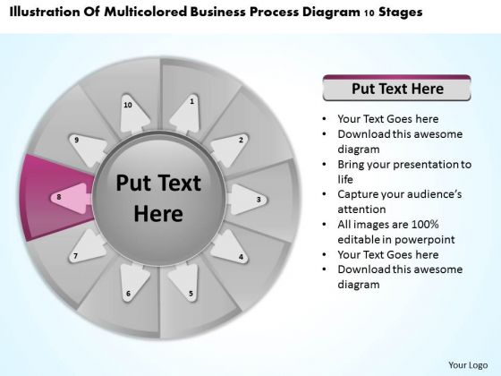 Presentation Process Diagram 10 Stages Create Business Plan PowerPoint Templates