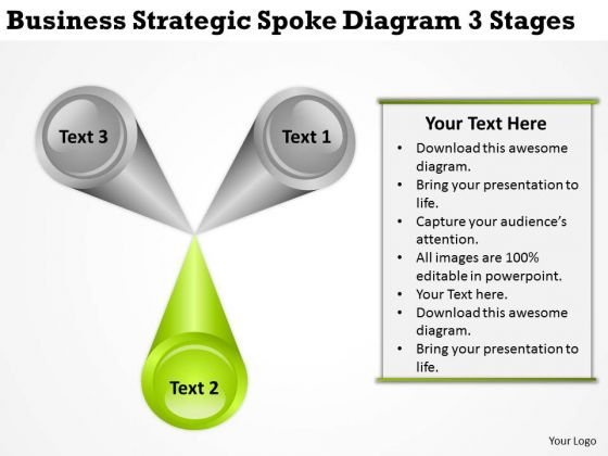 Presentation Strategic Spokdiagram 3 Stages Creating Business Plan PowerPoint Slides