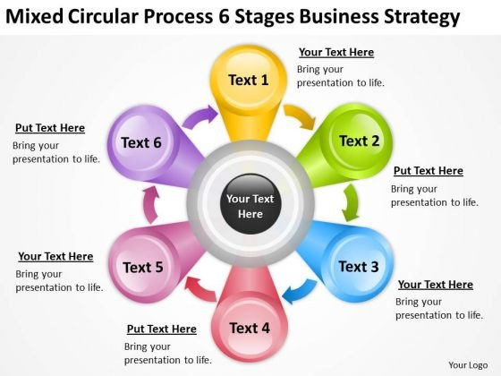 Process 6 Stages Business Strategy Plans Format PowerPoint Templates