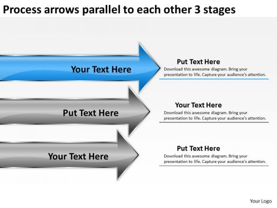 Process Arrows Parallel To Each Other 3 Stages Business Plan For Bakery PowerPoint Slides