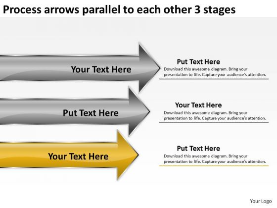 Process Arrows Parallel To Each Other 3 Stages Ppt Business Plan Generator PowerPoint Slides