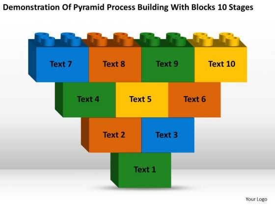 Process Building With Blocks 10 Stages Ppt Microsoft Business Plan Software PowerPoint Slides