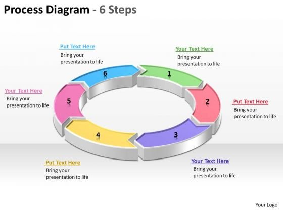 Process Diagram With 6 Steps Editable PowerPoint Templates