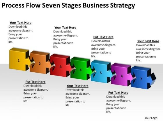 Process Flow Seven Stages Company Business Strategy Ppt