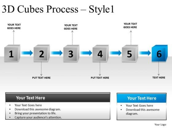 Process Flowchart Diagram 3d Cubes PowerPoint Presentation Slides And Ppt Templates
