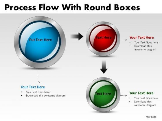 Process Flowchart Stages With Round Buttons PowerPoint Slides And Ppt Templates