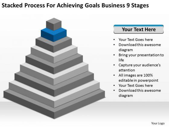 Process For Achieving Goals Business 9 Stages Development Plans PowerPoint Slides