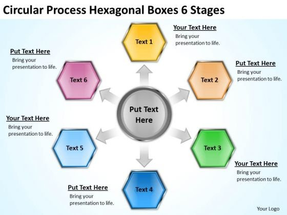 process hexagonal boxes 6 stages business plan outline template, Modern powerpoint