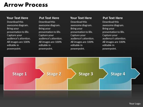 Process Ppt Template Arrow 4 Stages Business Management PowerPoint 1 Design