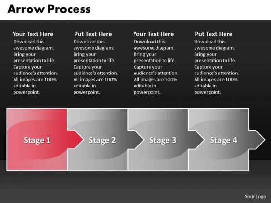 Process Ppt Template Arrow 4 Stages Business Management PowerPoint 2 Design