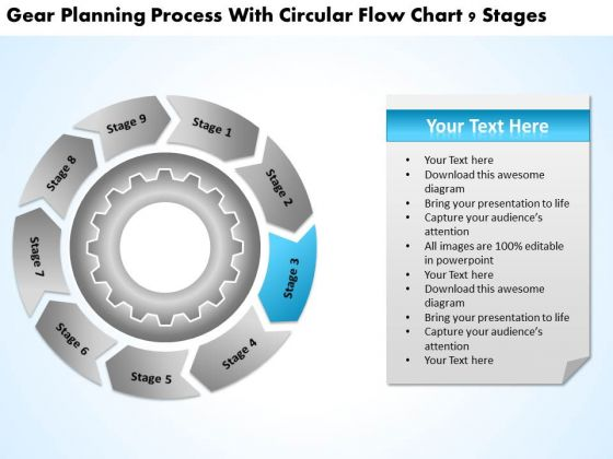 Process With Circular Flow Chart 9 Stages Short Business Plan Example PowerPoint Slides