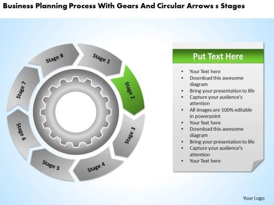 Process With Gears And Circular Arrows 8 Stages Business Plan Forms PowerPoint Slides