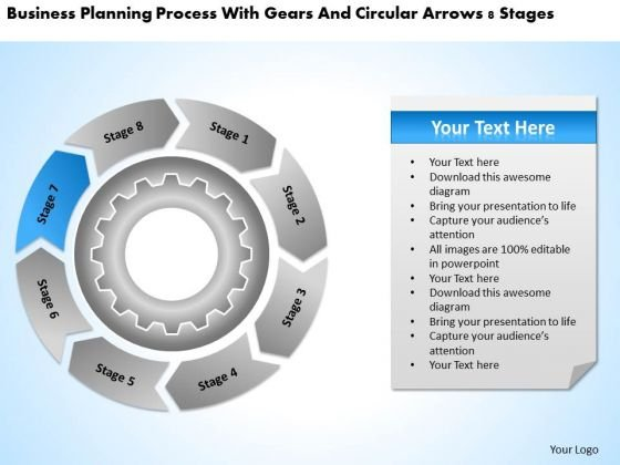 Process With Gears And Circular Arrows 8 Stages Business Plan Maker PowerPoint Slides