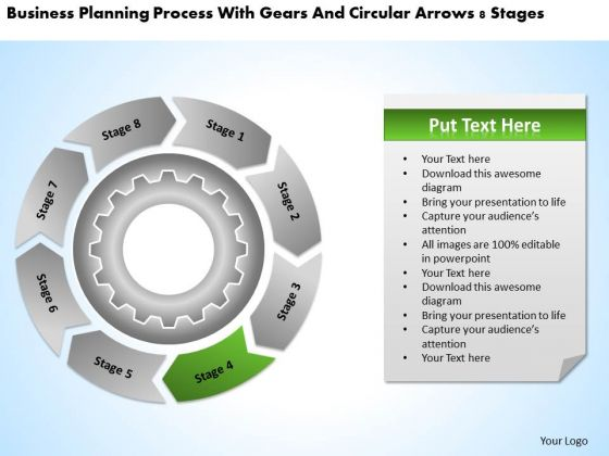 Process With Gears And Circular Arrows 8 Stages Business Plan PowerPoint Slides