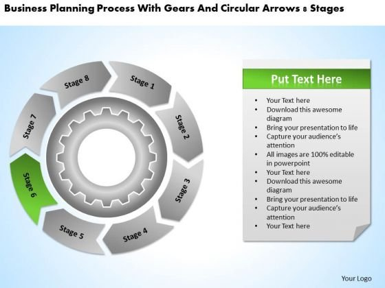 Process With Gears And Circular Arrows 8 Stages Catering Business Plan PowerPoint Slides