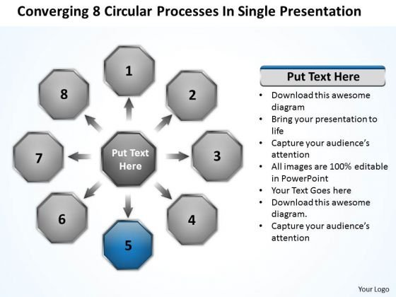 Processes In Single Presentation Relative Circular Flow Arrow Network PowerPoint Templates