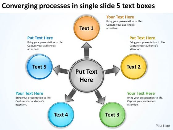 Processes In Single Slide 5 Text Boxes Arrows Diagram Software PowerPoint Templates