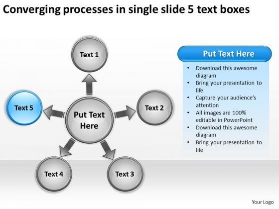 Processes In Single Slide 5 Text Boxes Chart Circular Flow PowerPoint Templates