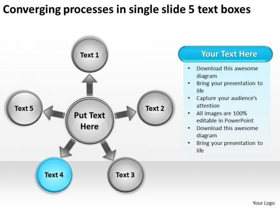 Processes In Single Slide 5 Text Boxes Ppt Circular Flow PowerPoint Templates