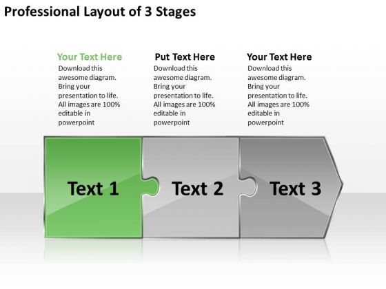 Professional Layout 3 Stages Slides Flow Chart PowerPoint