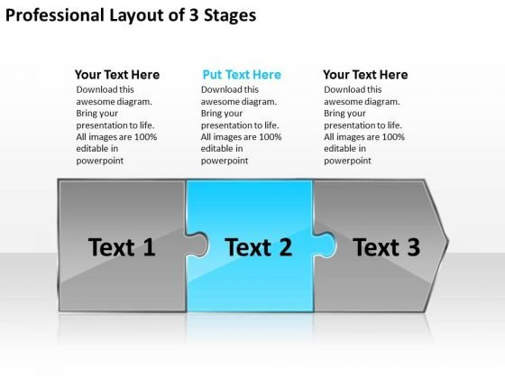 Professional Layout 3 Stages Tech Support Process Flow Chart