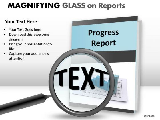 Professional Magnifying Glass On Report PowerPoint Slides And Ppt Diagram Templates