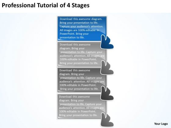 Professional Tutorial 4 Stages Design Process Flow Chart PowerPoint Slides