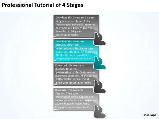 Professional Tutorial 4 Stages Online Flowchart Maker PowerPoint Templates