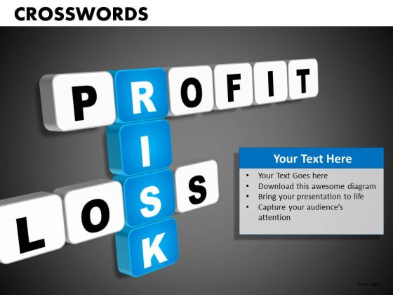 Profit Loss Risk Crosswords PowerPoint Templates