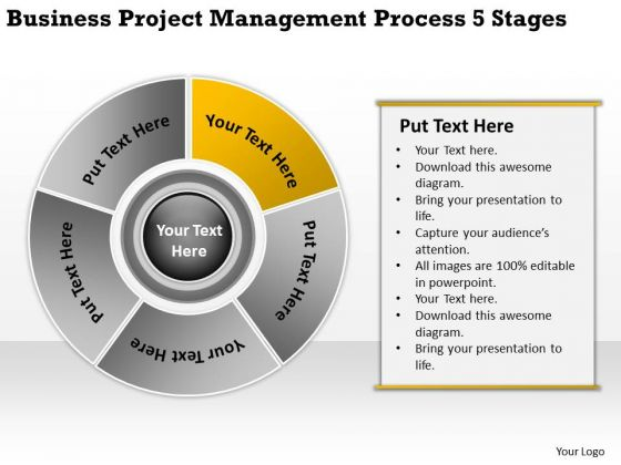 Project Management Process 5 Stages Business Plans For PowerPoint Templates