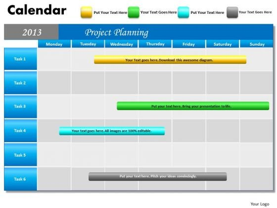 Project Planning Gantt Chart 2013 Calendar PowerPoint Slides Ppt Templates