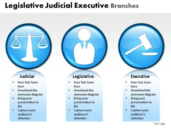 Prosecutor Legislative Judicial Executive Branches PowerPoint Slides And Ppt Diagram Templates
