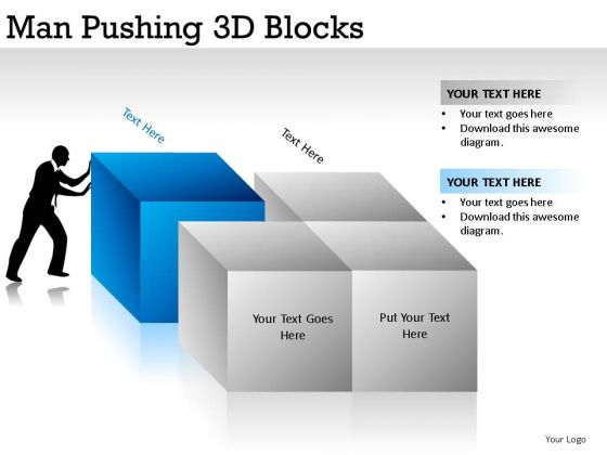 Pushing Man Pushing 3d Blocks PowerPoint Slides And Ppt Diagram Templates