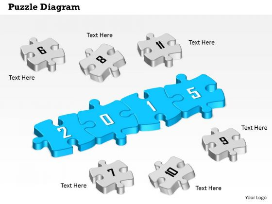 Puzzle Diagram For 2015 Year Diagram With Numeric Puzzles Around Presentation Template
