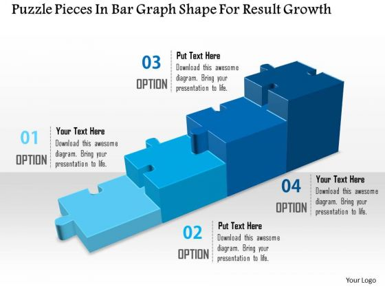 Puzzle Pieces In Bar Graph Shape For Result Growth Presentation Template