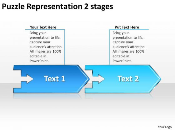Puzzle Representation 2 Stages Open Source Flowchart PowerPoint Slides