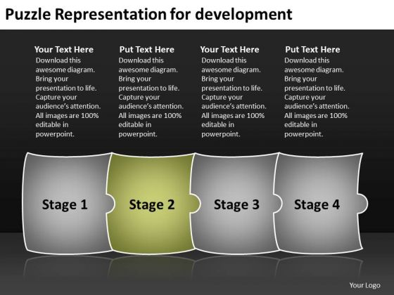 Puzzle Representation For Development Free Flow Chart PowerPoint Slides