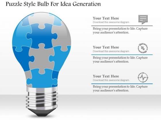 Puzzle Style Bulb For Idea Generation Presentation Template