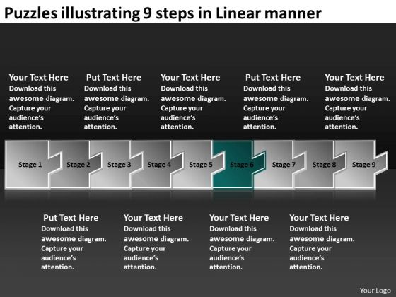 Puzzles Illustrating 9 Steps Linear Manner Circuit Design PowerPoint Templates