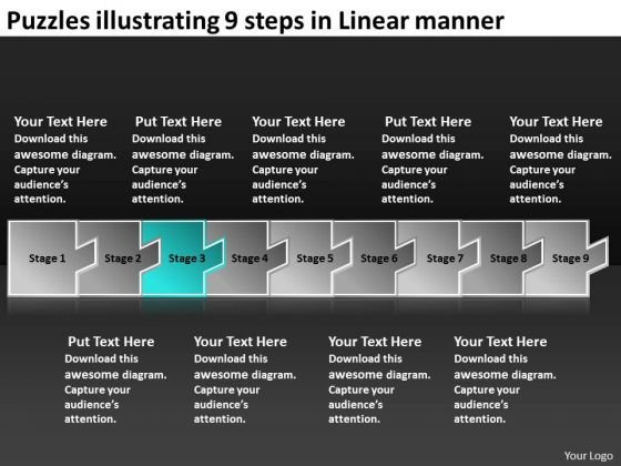 Puzzles Illustrating 9 Steps Linear Manner Electrical Circuit Simulator PowerPoint Slides