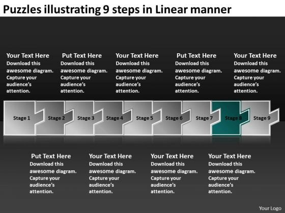 Puzzles Illustrating 9 Steps Linear Manner Flow Charting PowerPoint Templates