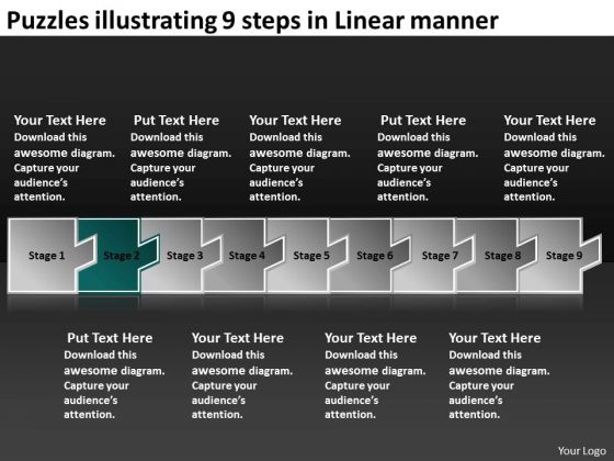 Puzzles Illustrating 9 Steps Linear Manner How To Make Flow Charts PowerPoint Slides