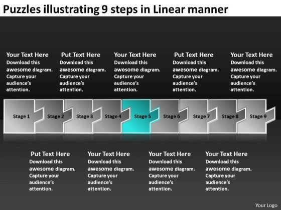 Puzzles Illustrating 9 Steps Linear Manner Network Mapping Freeware PowerPoint Slides