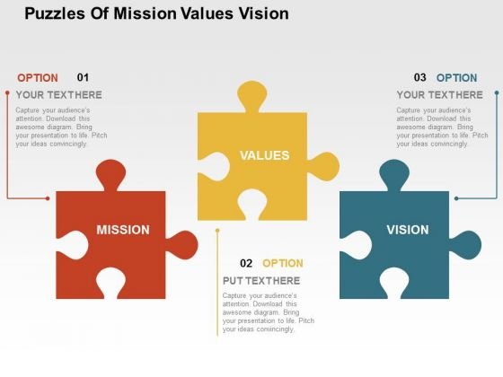Puzzles Of Mission Values Vision PowerPoint Template