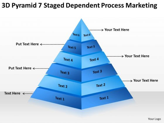 Pyramid 7 Staged Dependent Process Marketing Ppt Business Plan PowerPoint Slides